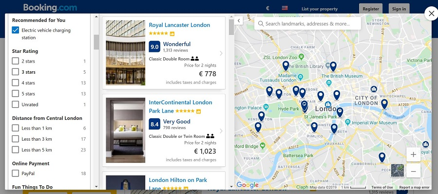 Screenshot of booking com - ev charging station filter