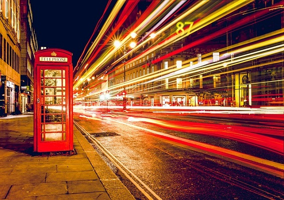 london red phone box traffic at night - UK - ev charger incentives guide - wallbox