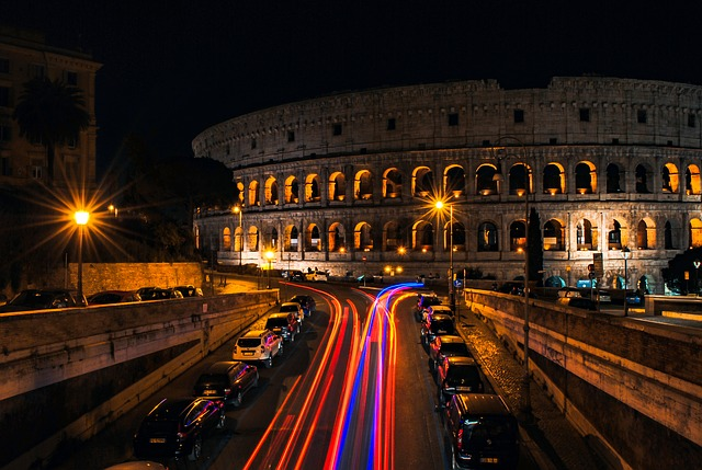 rome colloseum at night lights - italy - ev charger incentives guide - wallbox